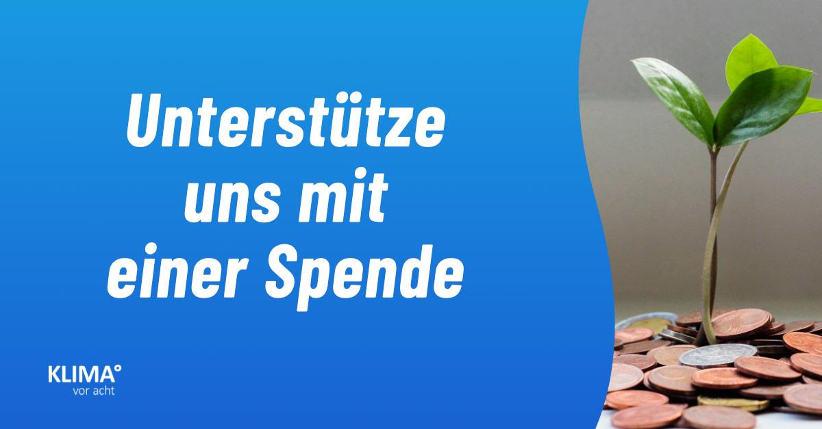 Schriftzug: Unterstütze uns mit einer Spende - Abbildung eines Pflanzensprösslings, der aus einer Menge Münzen wächst